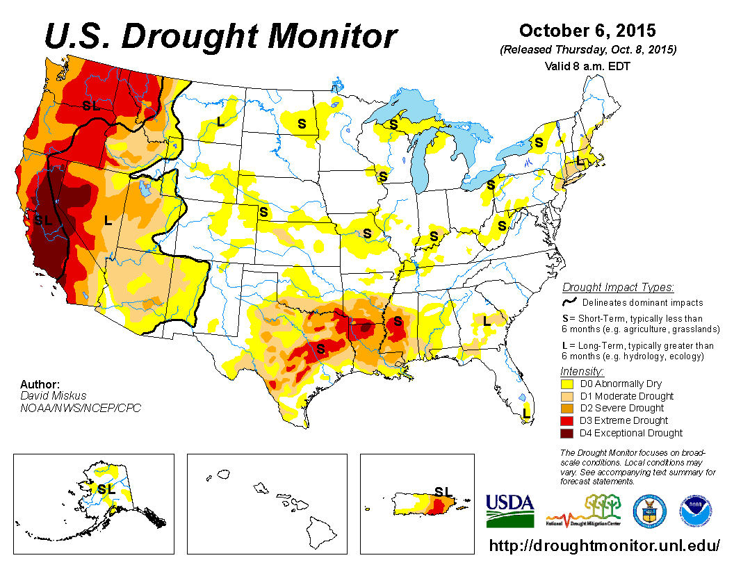 U.S. Drought Monitor - October 6, 2015