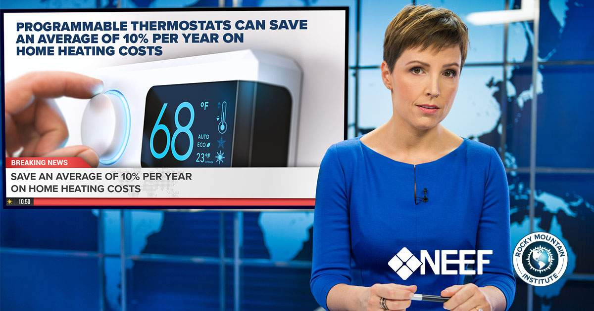 Newscaster presenting energy savings