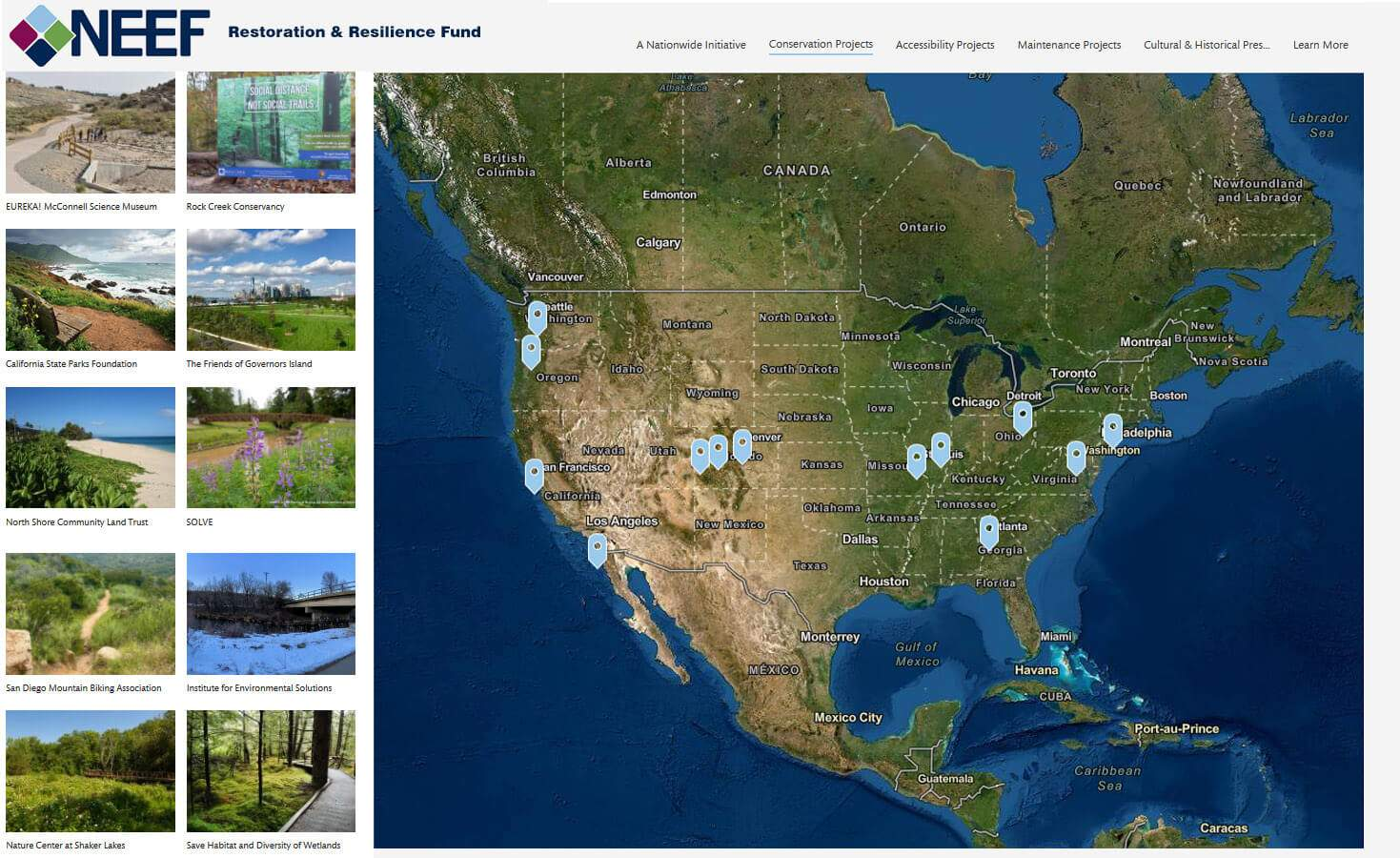 NEEF restoration and resilience grant fund story map