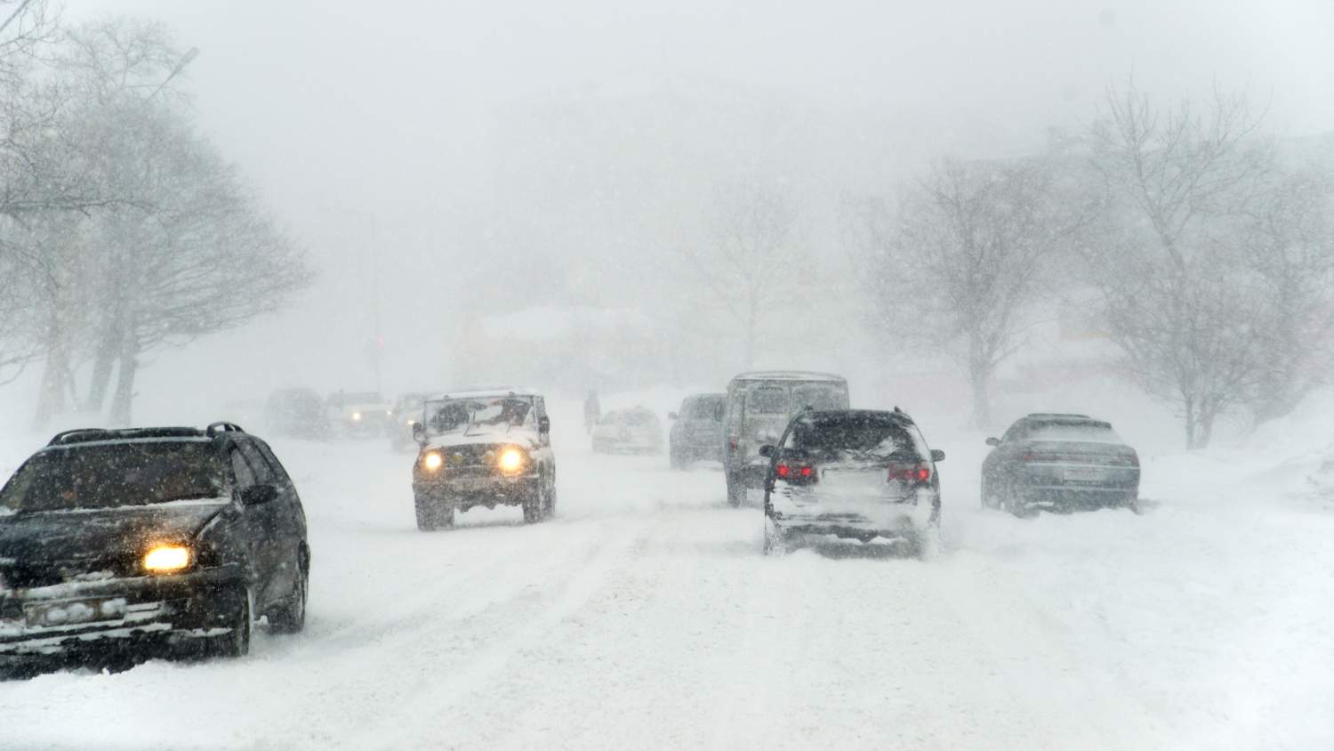 Snowstorm on the highway