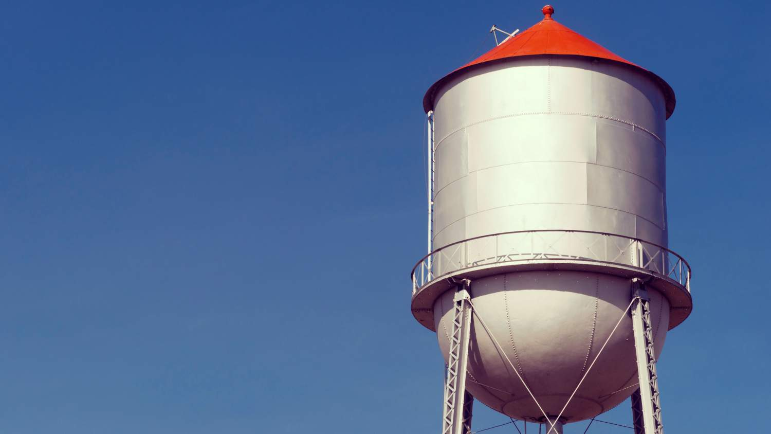 Water tower in a small town