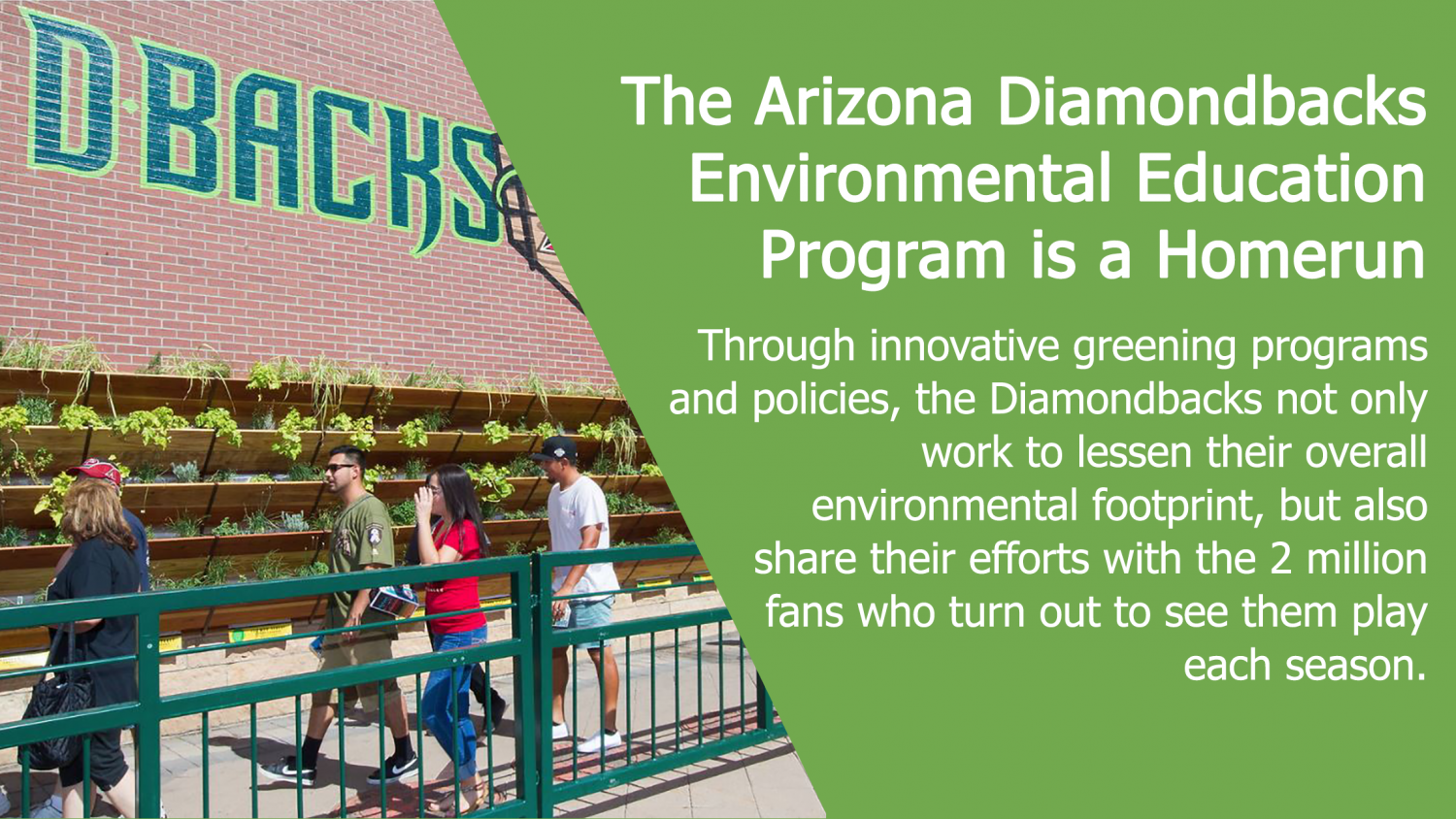 The Arizona Diamondbacks Environmental Education Program is a Homerun: Through innovative greening programs and policies, the Diamondbacks not only work to lessen their overall environmental footprint, but also share their efforts with the 2 million fans