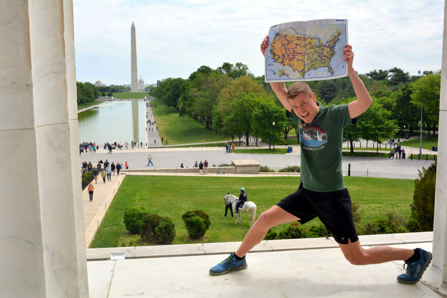 Mikah Meyer at the Lincoln Memorial