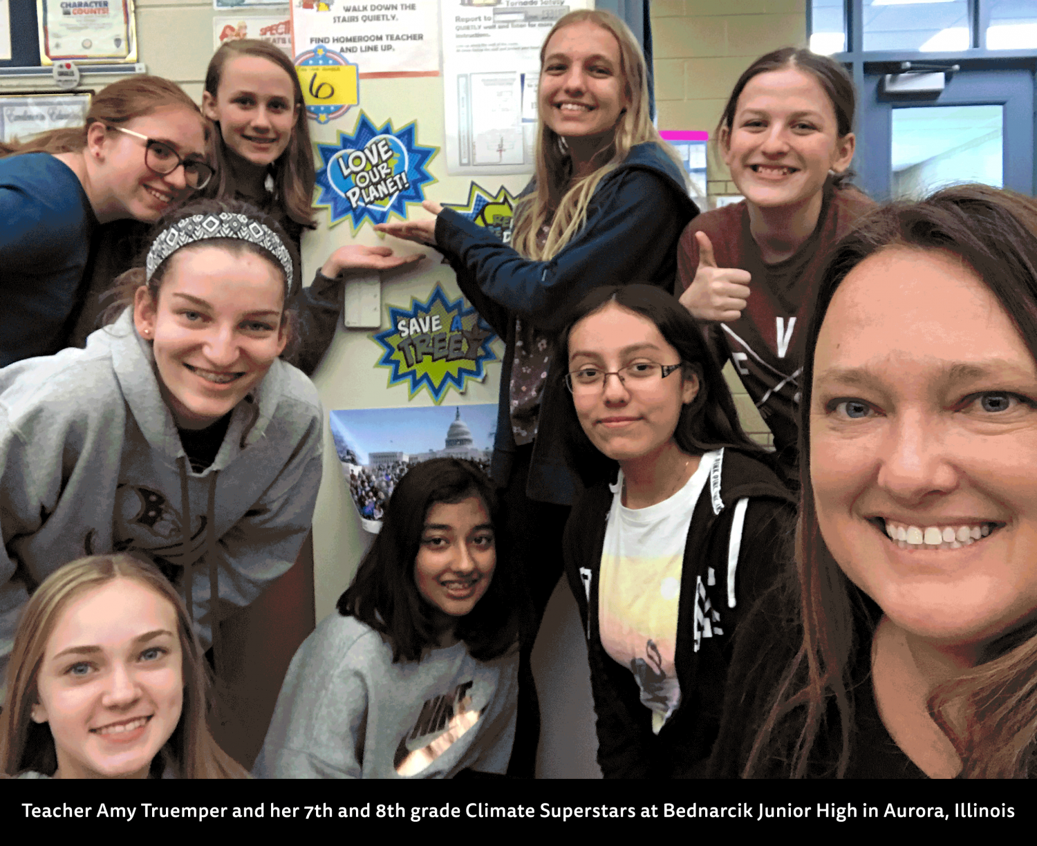 Teacher Amy Truemper and her 7th and 8th grade Climate Superstars at Bednarcik Junior High in Aurora, Illinois