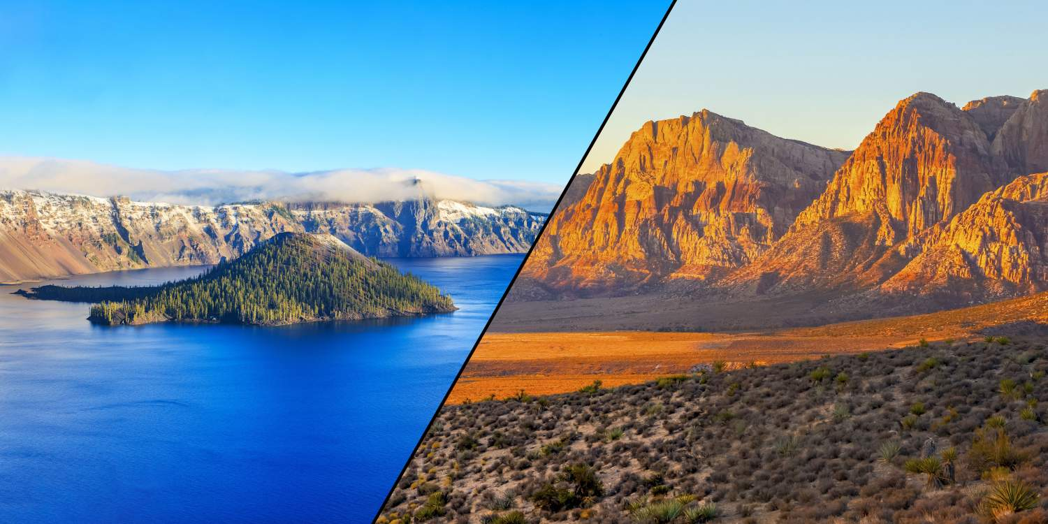 Crater Lake (elena_suvorova: https://stock.adobe.com/images/crater-lake-national-park-in-oregon-usa/100823036) Red Rock Canyon (John Anderson: https://stock.adobe.com/images/red-rock-canyon-nevada/229989834)