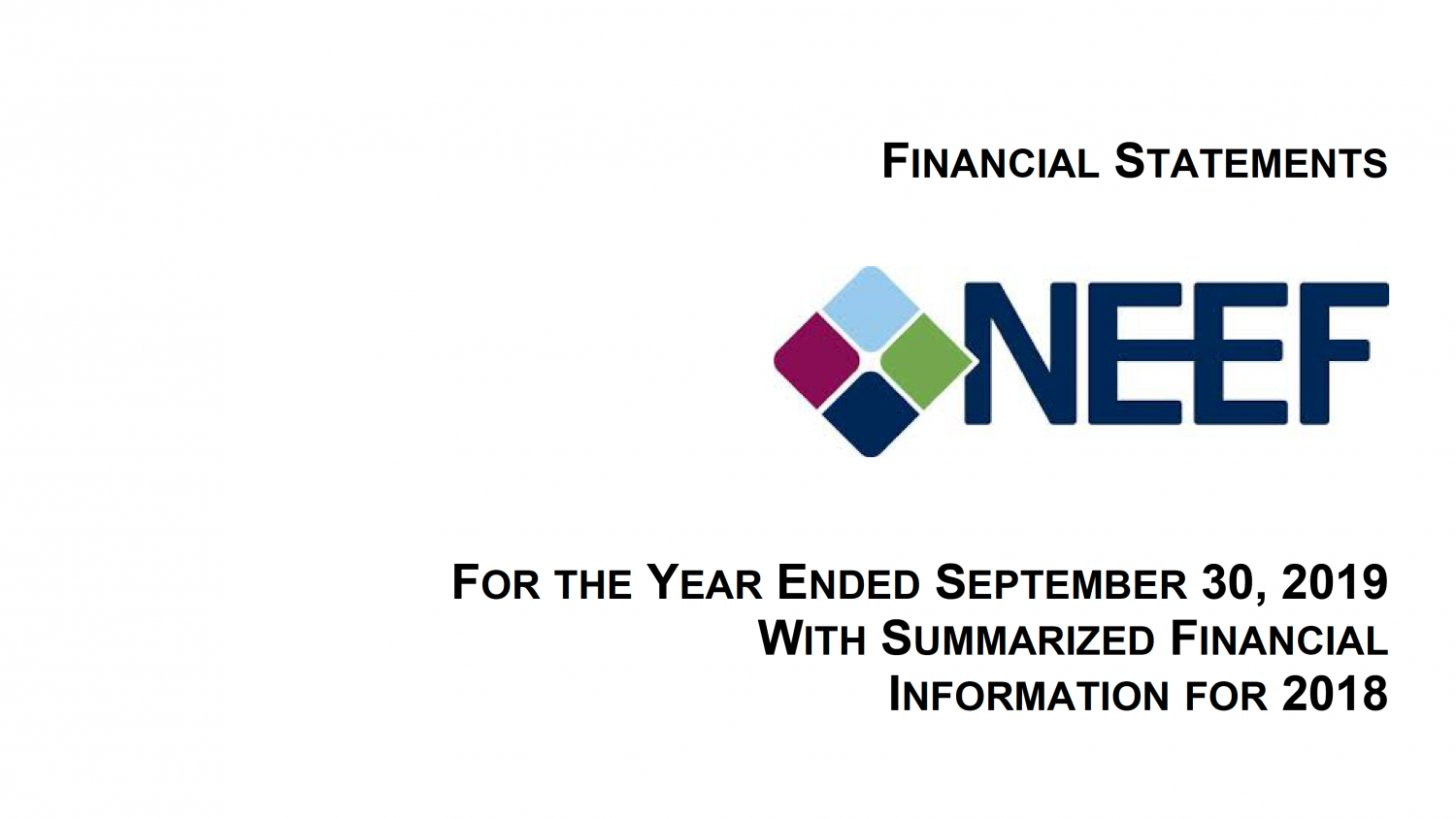 Financial Statements for the Year Ended September 30, 2019