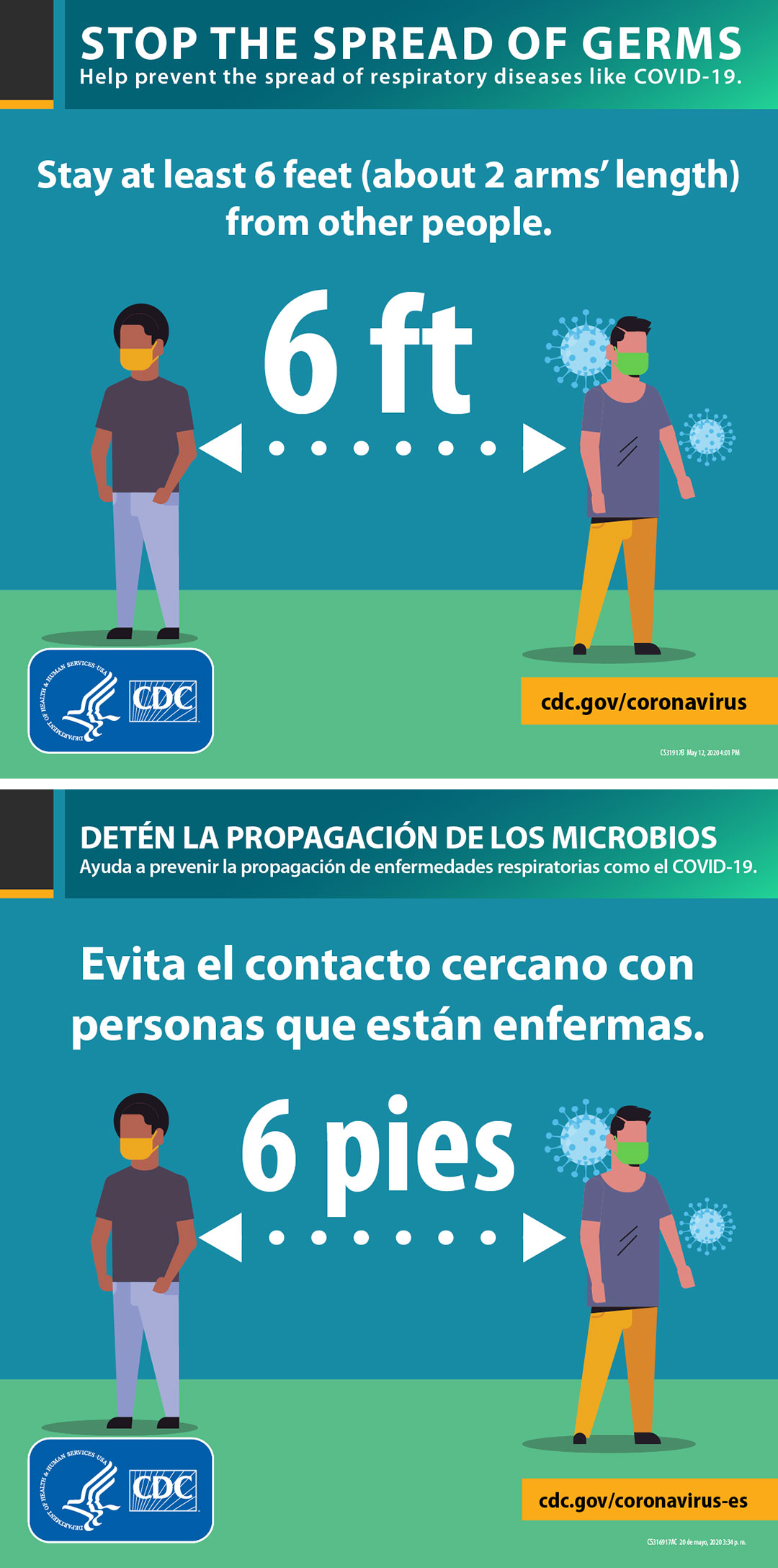 Stop the spread of germs from the CDC (cdc.gov/coronavirus | cdc.gov/coronavirus-es)