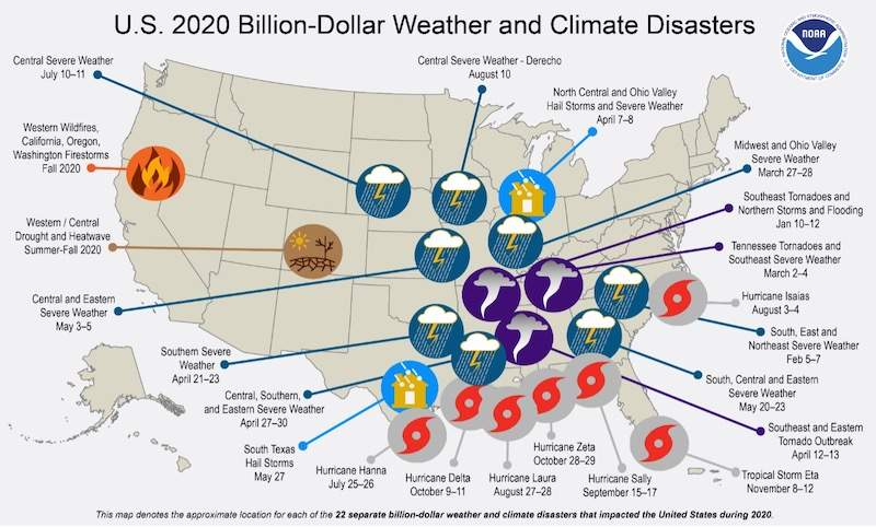 graphic of US map with points of climate disasters and costs
