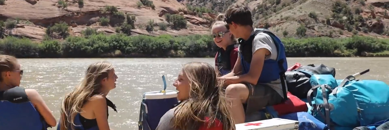 Greening STEM students rafting on the Colorado River