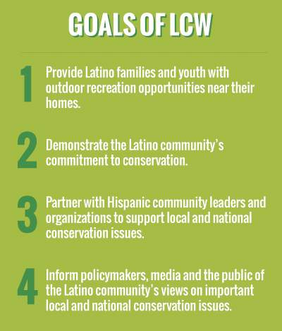 graphic listing goals of latino conservation week