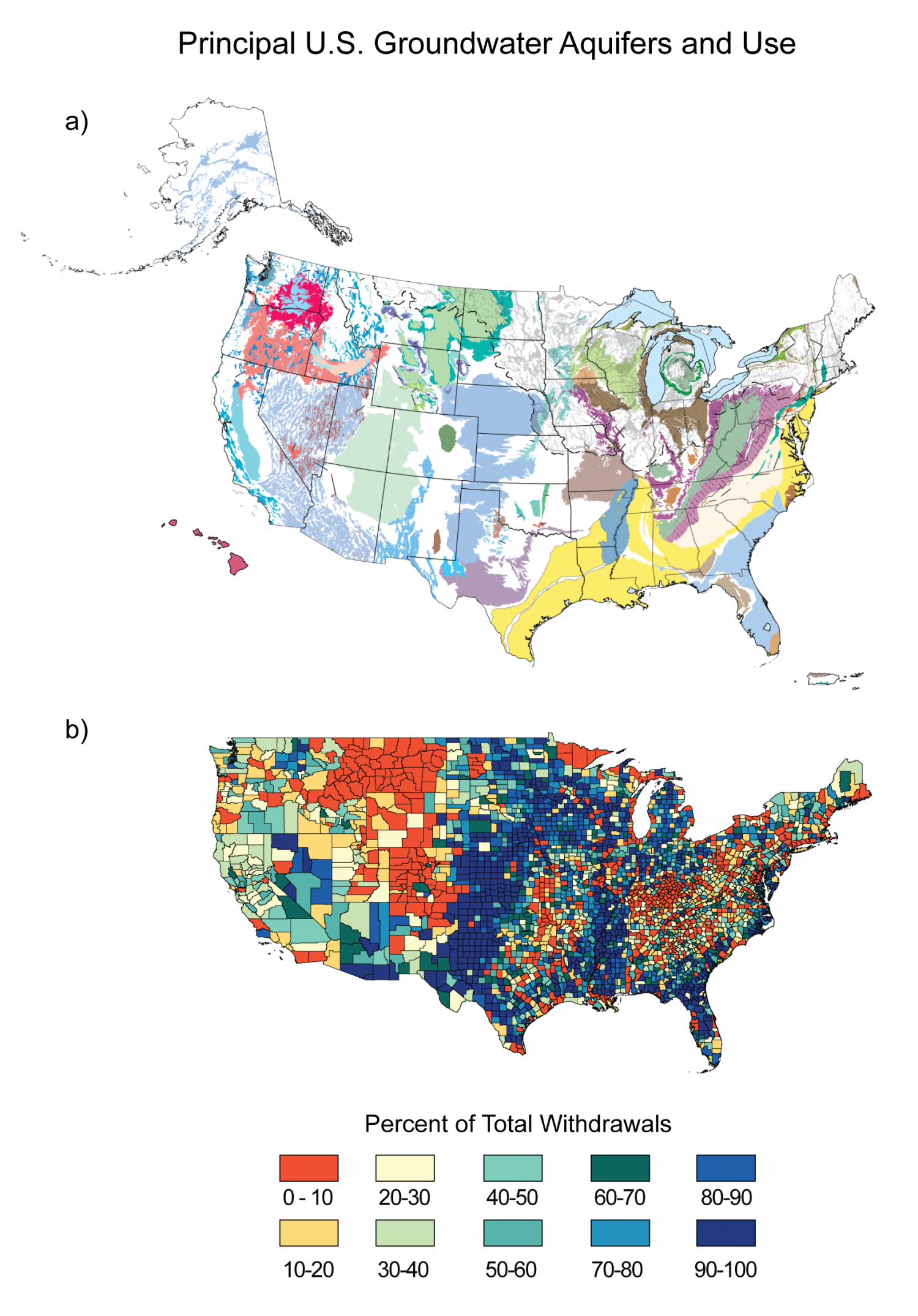 Principal US Groundwater Aquifers and Use