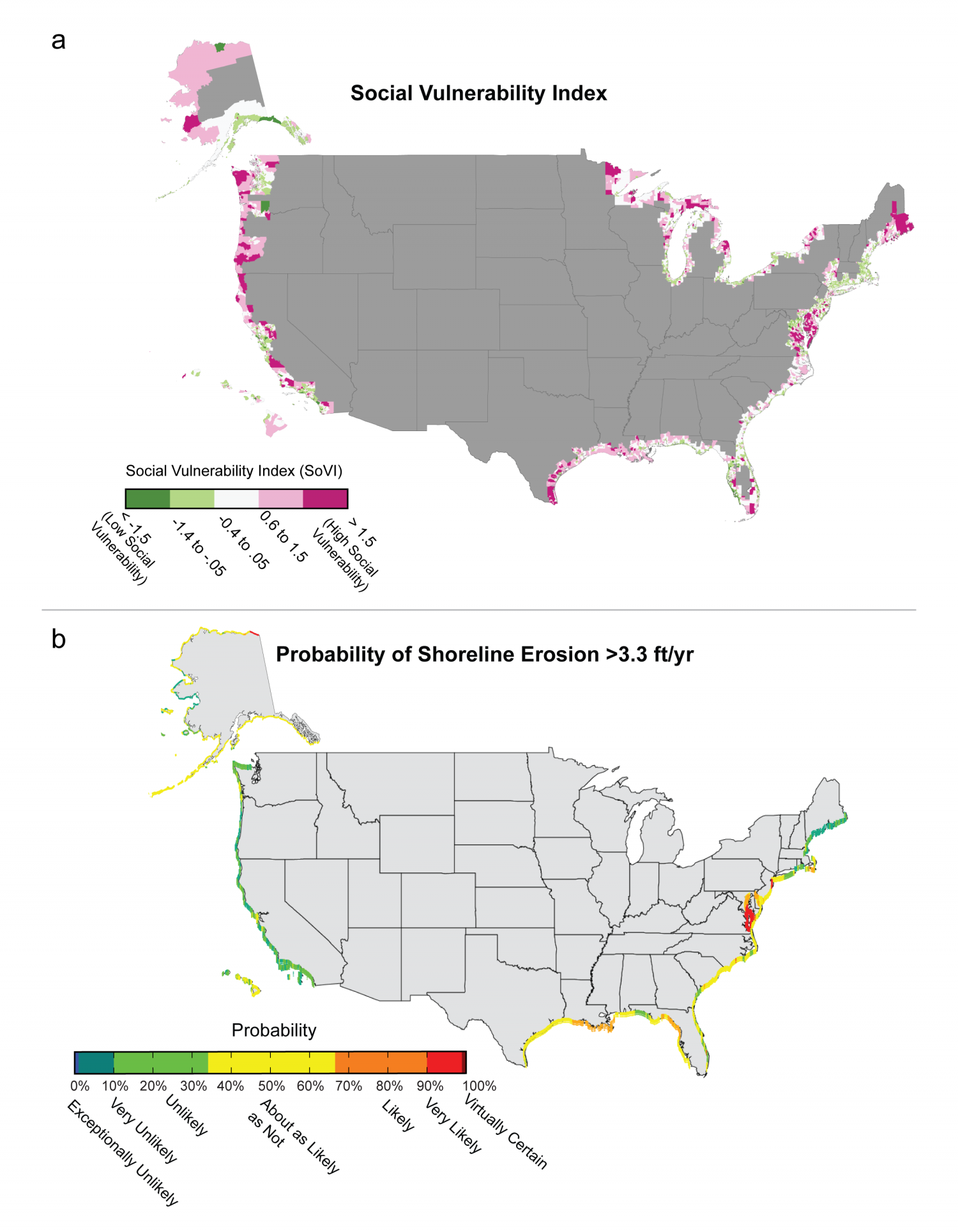 Social vulnerability and probability of shoreline erosion in the US