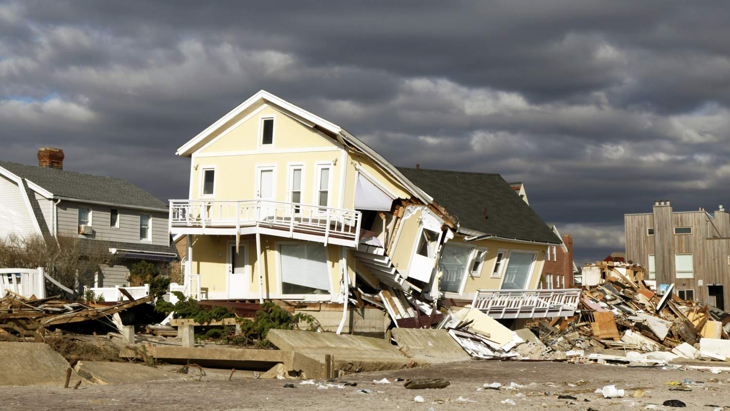 House battered by a recent hurricane
