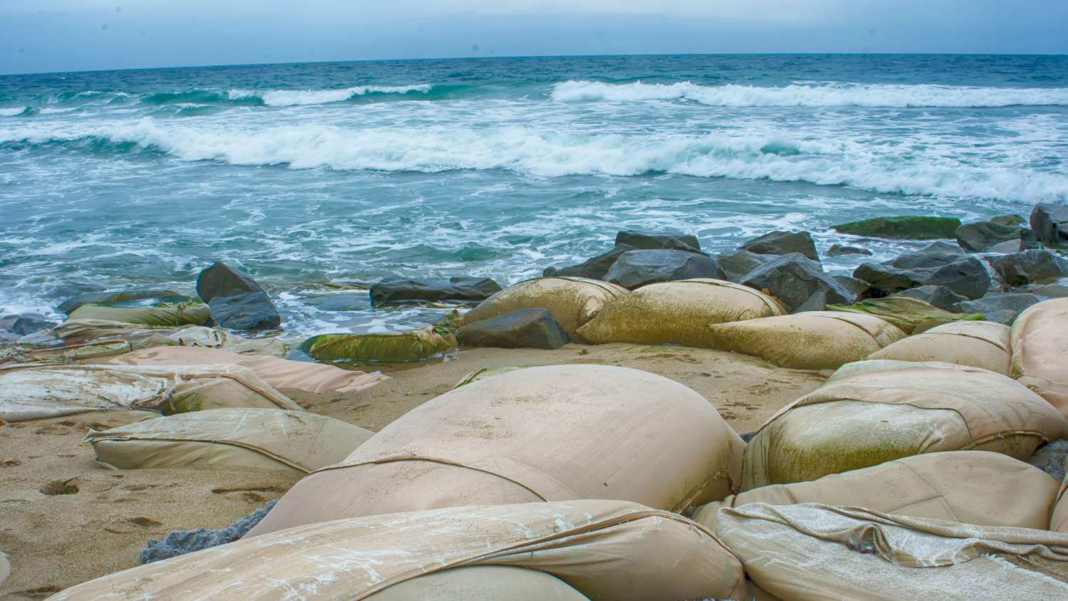 Sandbags on eroding east coast