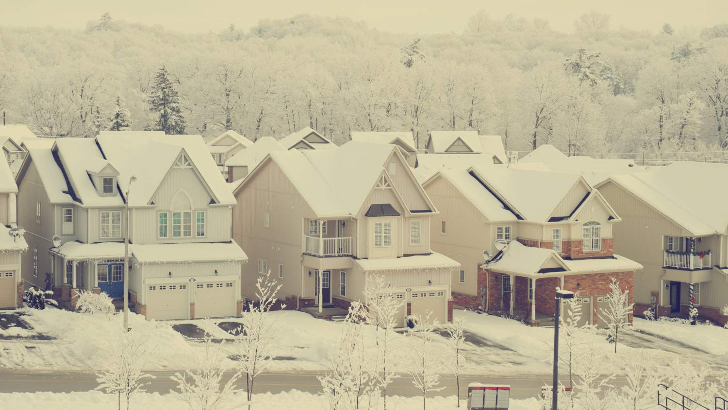 Subdivision houses in the winter