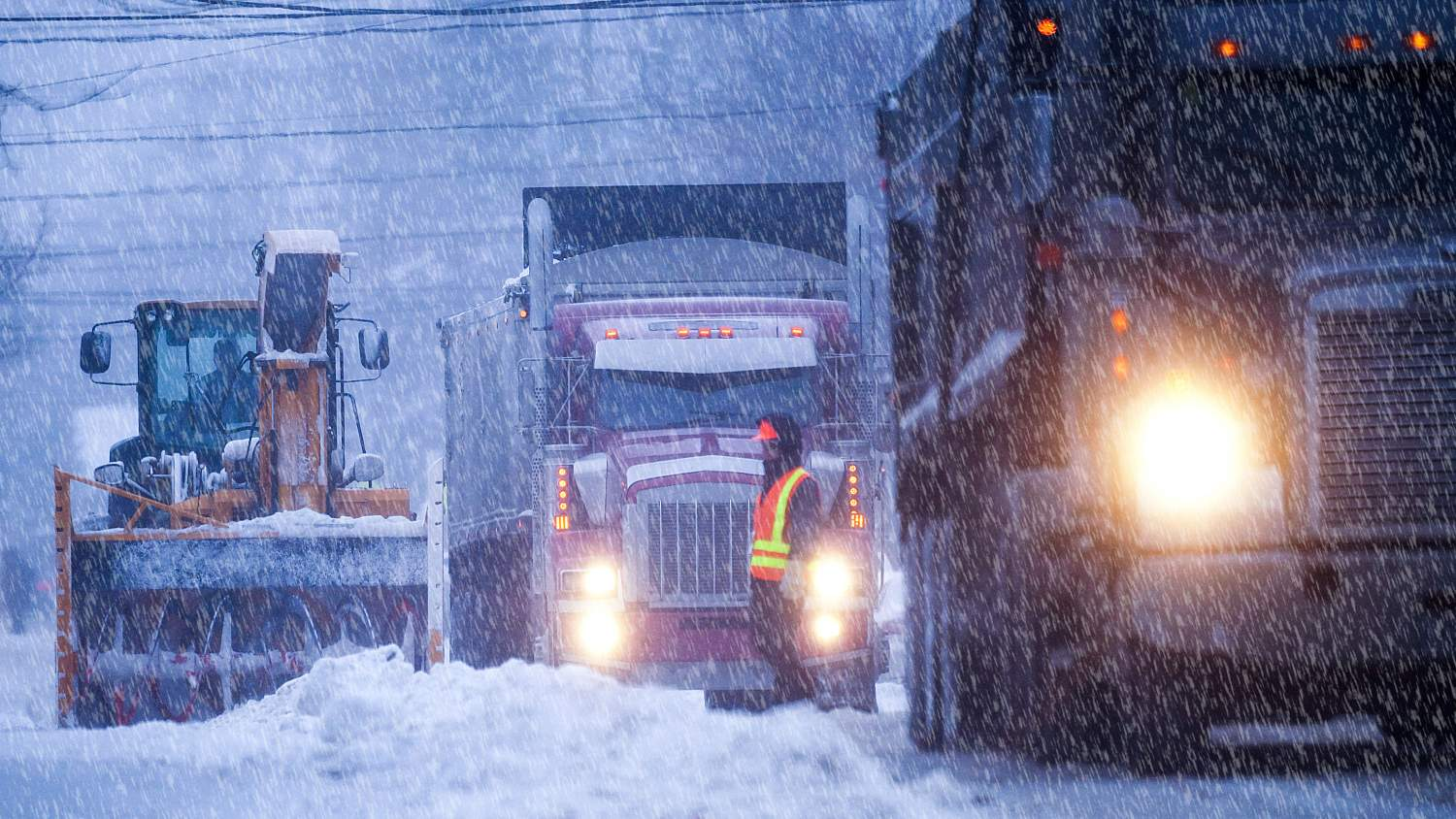 Trucks in a winter storm