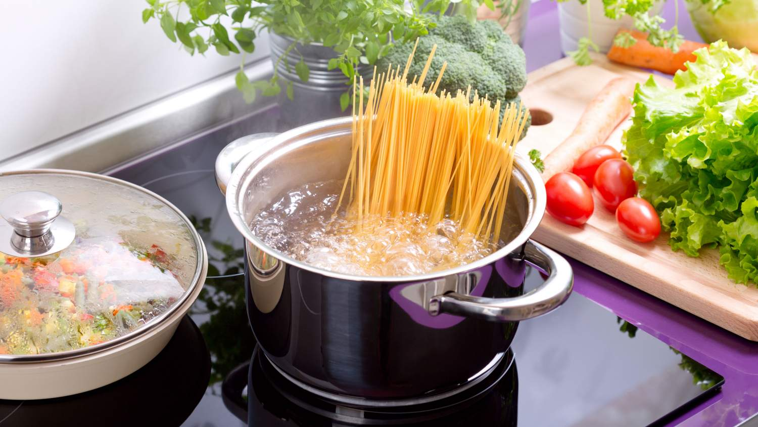 Pasta in boiling water