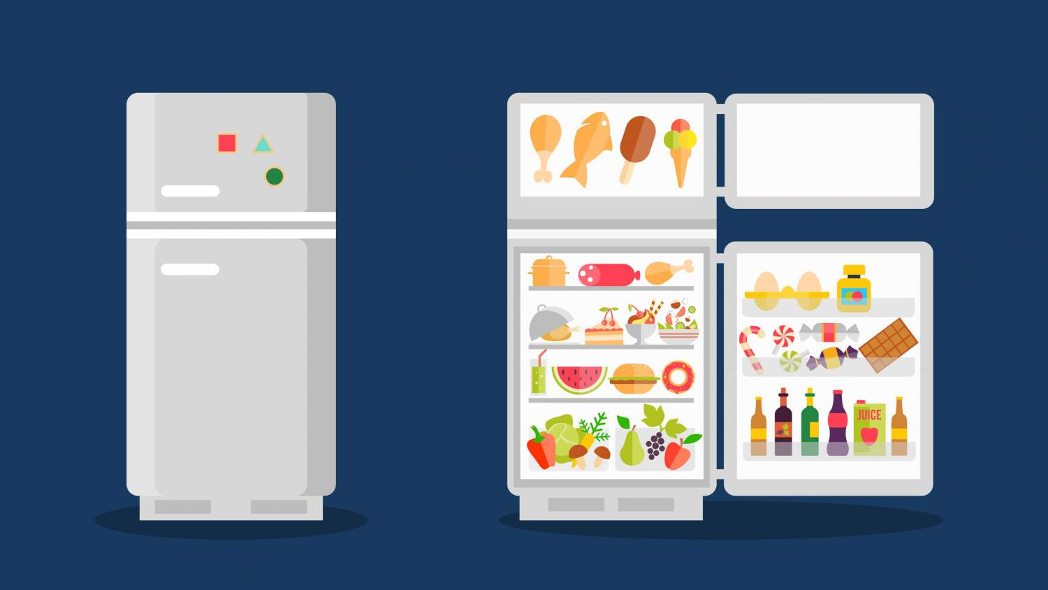 Illustration of refrigerator with food