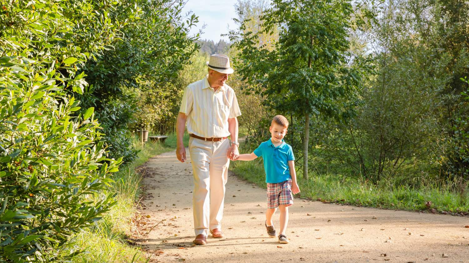Grandfather and grandson walking in a park