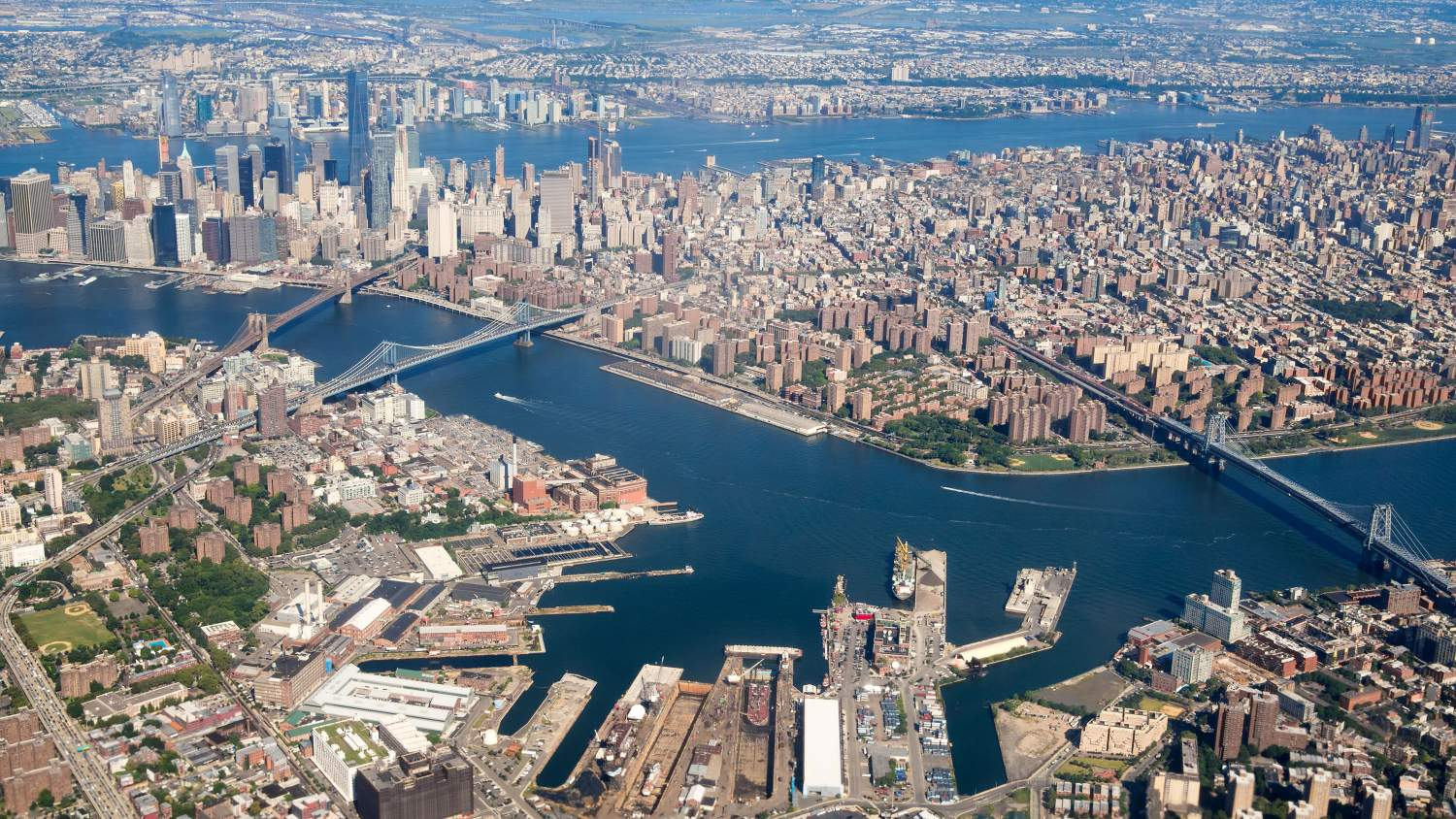 Aerial view of New York with rivers