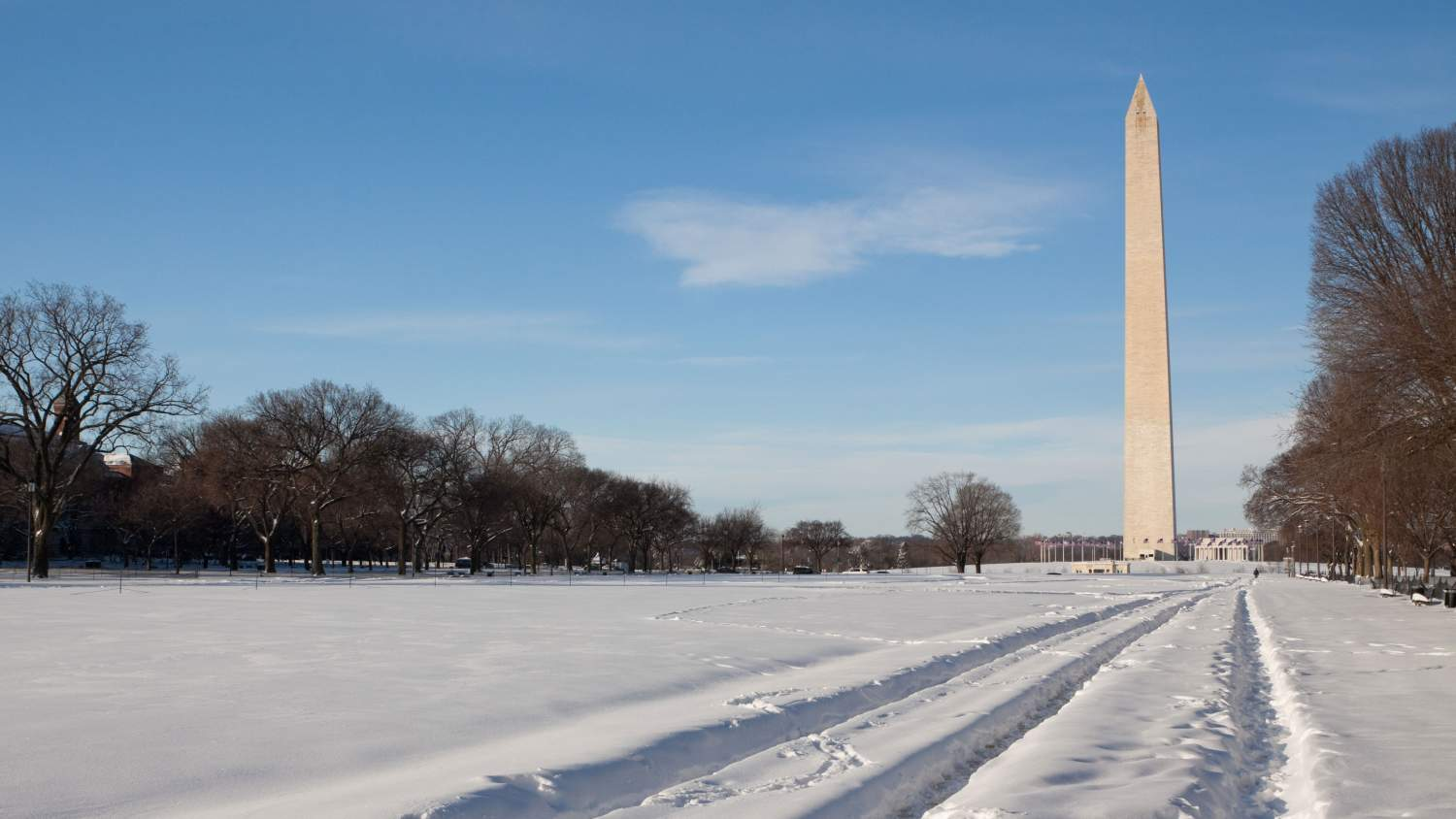 Washington Monument in the snow