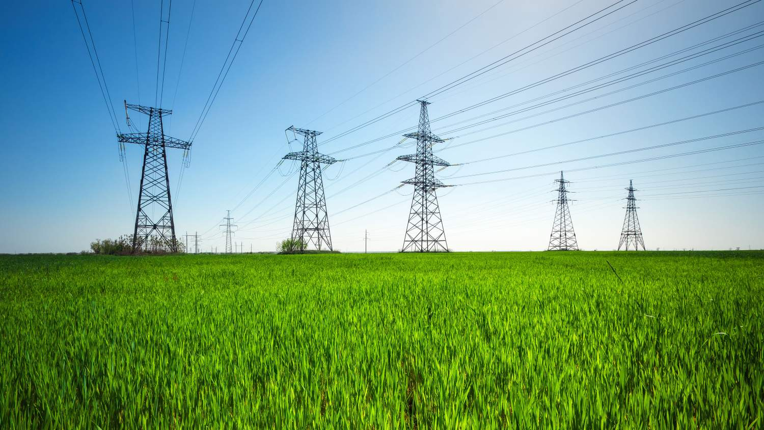 HIgh voltage lines and power pylons in a a green agricultural landscape with a blue sky on a sunny day