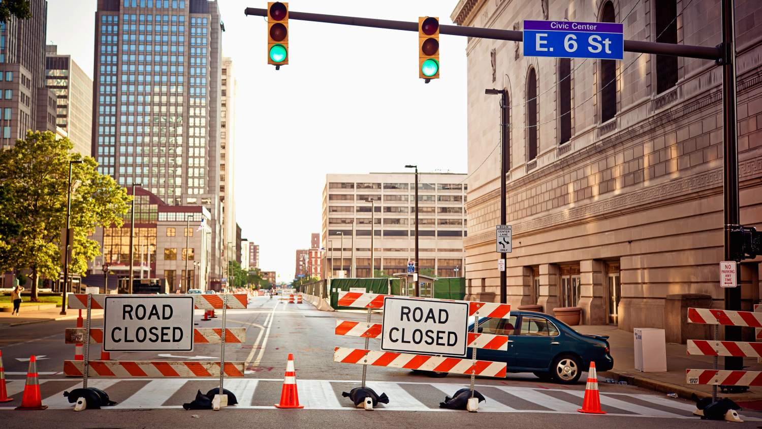 Road closed in downtown Cleveland