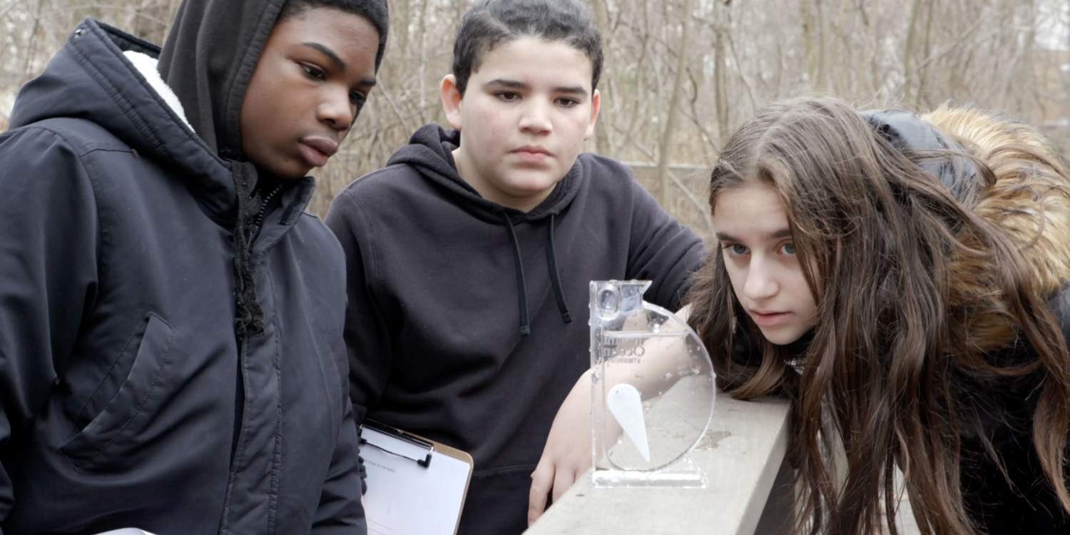 Students at the watershed in Teaneck, New Jersey