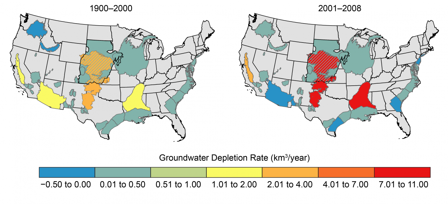 Depletion of Groundwater in Major U.S. Regional Aquifers