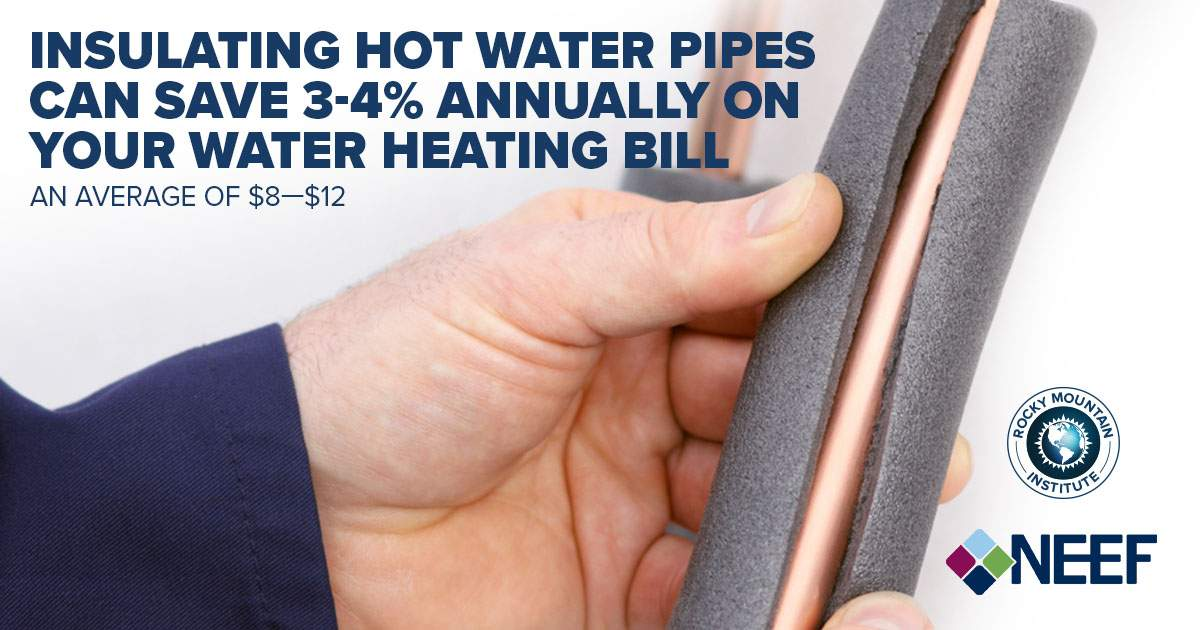 Insulating hot water pipes can save 3-4% annually on your water heating bill an average of $8-$12