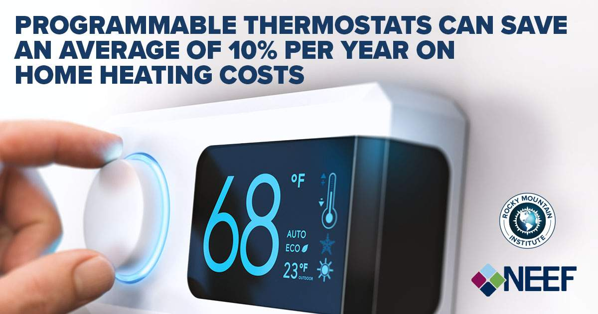 Programmable thermostats can save an average of 10% per year on home heating costs