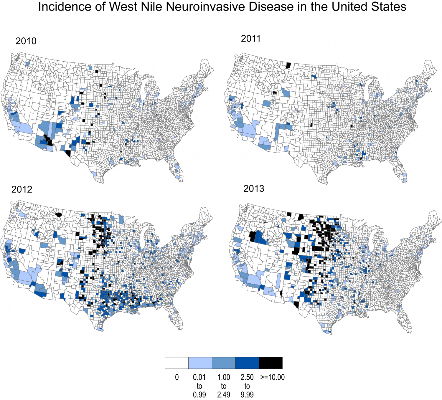 Incidence of West Nile Neuroinvasive Disease by County in the United States
