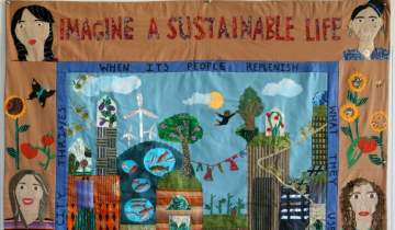 """Eliza K.'s quilt, titled """"Imagine a Sustainable Life"""""""
