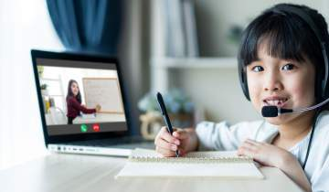 Girl virtual learning at home