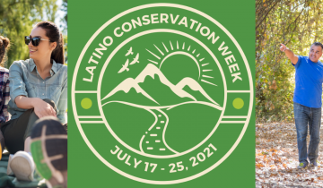 Latino Conservation Week Graphic with Latinos in the outdoors