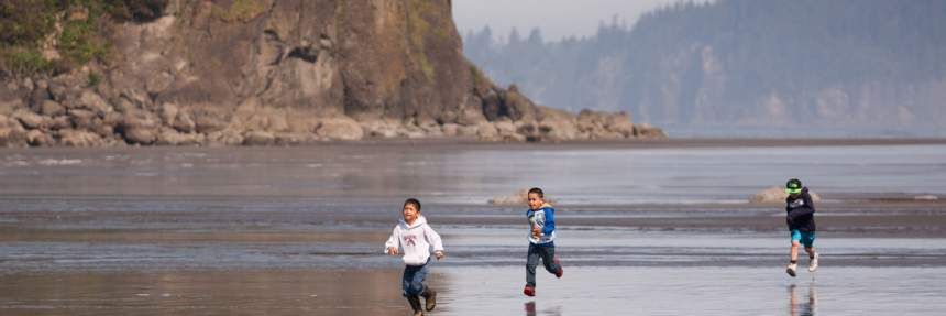 Kids running at Olympic National Park