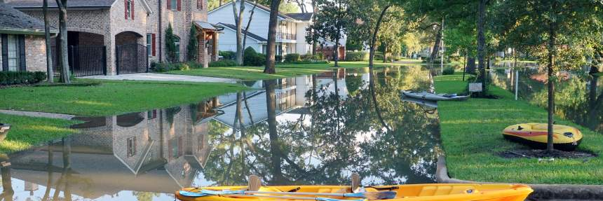 Flooded neighborhood in Houston after Hurricane Harvey