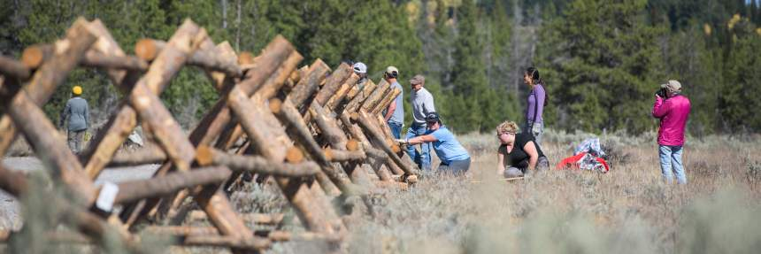 Fence building at Grand Teton National Park