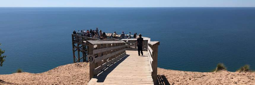 Crowd at a pier at Sleeping Bear Dunes, Michigan