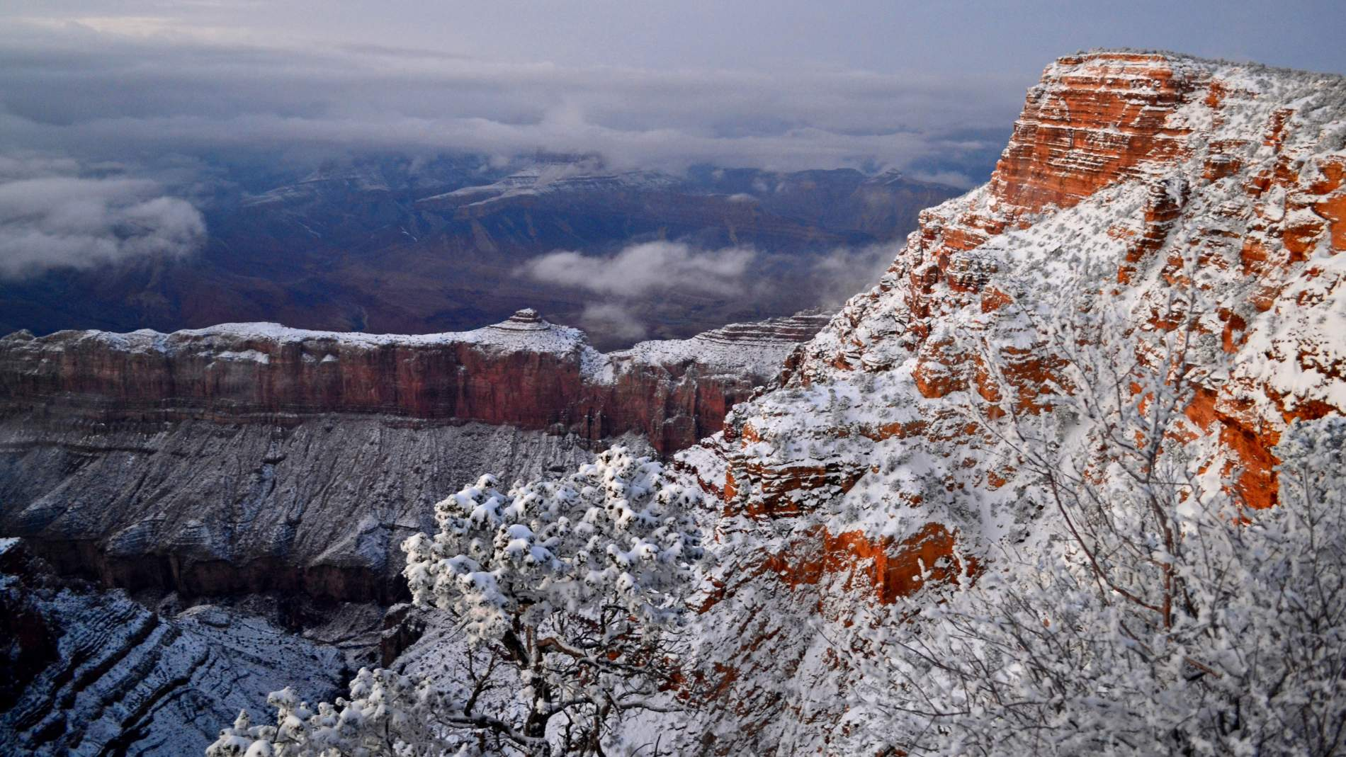 Snow capped Grand Canyon