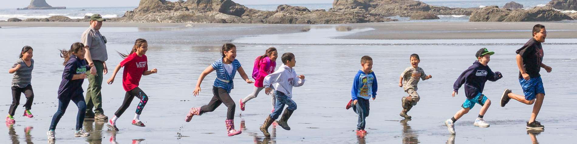 Children running at Olympic National Park