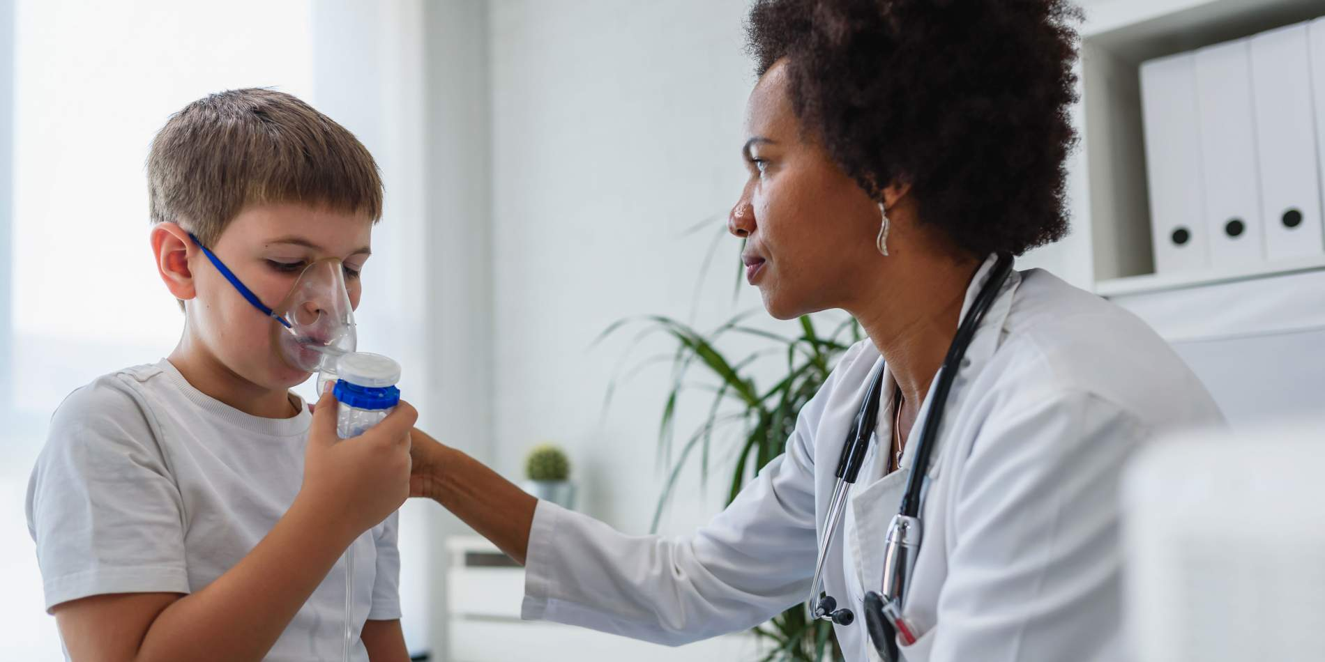 Doctor and asthma patient