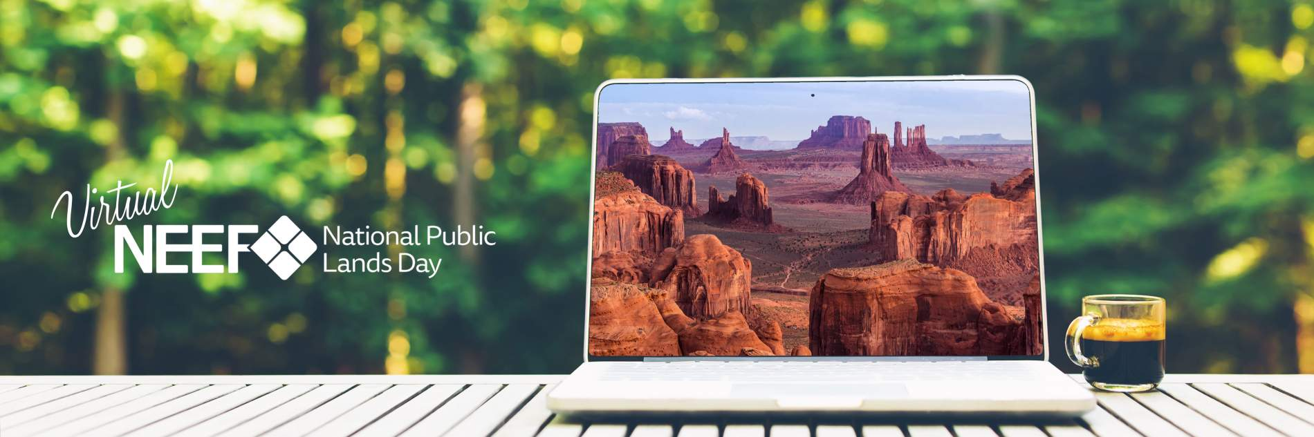 Laptop outside; Copyright: Tierney (https://stock.adobe.com/images/laptop-computer-with-a-forest-background/157483189) and aiisha (https://stock.adobe.com/images/sunrise-in-hunts-mesa-navajo-tribal-majesty-place-near-monument-valley-arizona-usa/179528816)