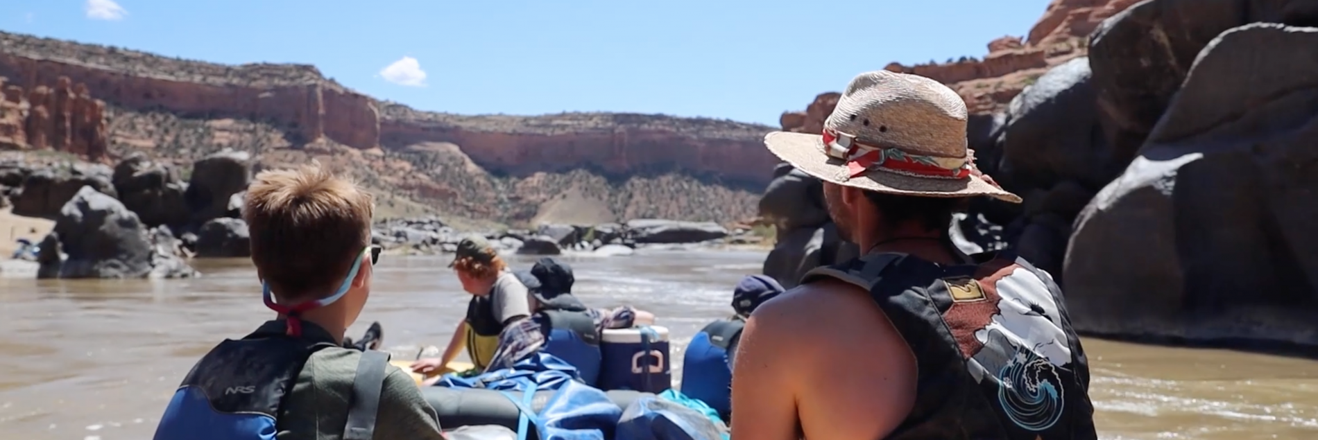 students rafting down the colorado river on a STEM trip