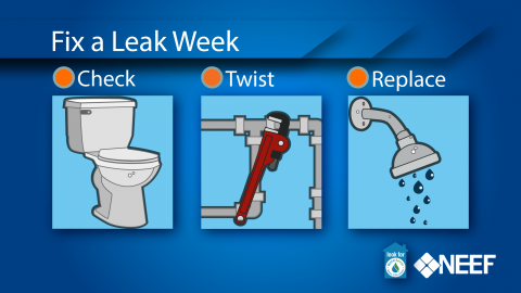 """Infographic of Fix a Leak Week, with text and imagery saying """"check"""" next to a toilet, """"fix"""" next to a wrench and pipes, and """"replace"""" next to a showerhead"""