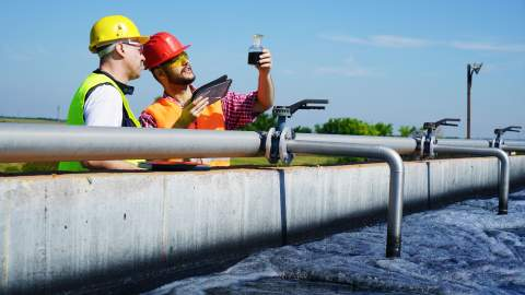 Engineers at a water treatment plant