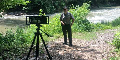 Filming a virtual event with George McBroom at Carters Lake